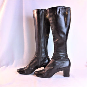 BALLY knee high boots Soft Brown Leather 6.5N MINT